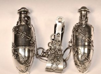 A pair of Tiffany silver scent flasks or vinaigrettes -Victorian